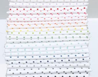 Fat Quarter Bundle Swiss Dot by RileyBlake Designs -23 Fabrics White Background