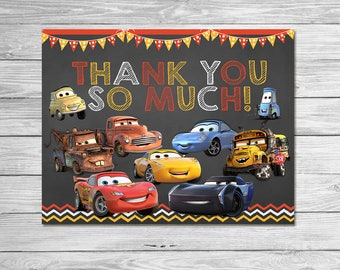 Disney Cars 3 Thank You Card -  Instant Download Chalkboard - Disney Cars 3 Birthday Party - Disney Cars 3 Thanks - Cars 3 Party Favors