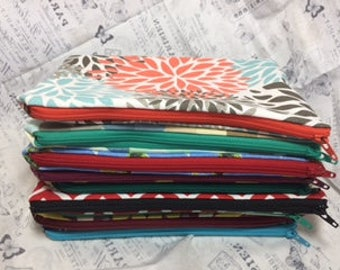 Pouch of Love Zipper Lined Pencil Travel Cosmetic Pouch Fabric