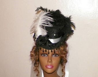 On Sale- Steampunk Lolita Mini Top Hat Black White Headdress Gothic Victorian Hat Feather Fascinator Costume Marie Antoinette Headpiece