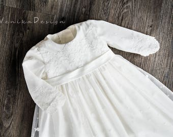 lace christening gown with long slewer i colour ivory or white