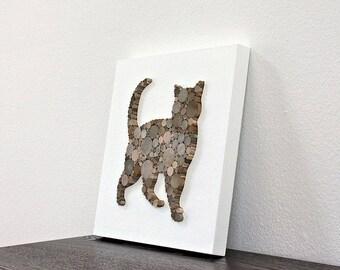 Rustic Modern Wall Decor, Cat Decor, Minimalist Animal Decor, Cat Lover Gift