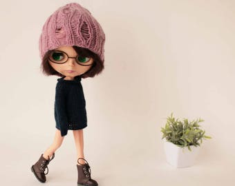 Blythe sweater Casual style Dark blue sweater for Blythe doll Knitted sweater Blythe blue clothes Blythe outfit Autumn wool blythe pullover