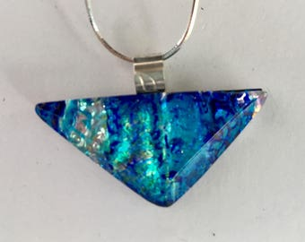 Dichroic  Glass Necklace - light blue beveled triangle
