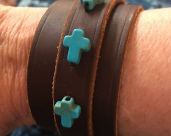 Leather Wrap Cuff and Turquoise Crosses