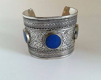 Statement Cuff Bracelet Tribal Ethnic North Afghan Jewelry Lapis Settings
