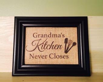 Grandma's kitchen sign, burlap print, personalized kitchen sign, kitchen decor, gift for grandmother, kitchen sign, kitchen never closes