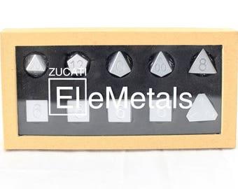 Zucati Dice EleMetal™ Aluminum Polyhedral Set of 10 - Valiant Silver