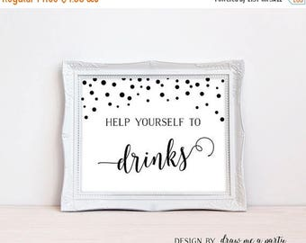 20% OFF Black and White Drink Sign , Help Yourself Sign Drink Table Sign , Bridal Baby Shower Shower Wedding , Printable , Instant Download