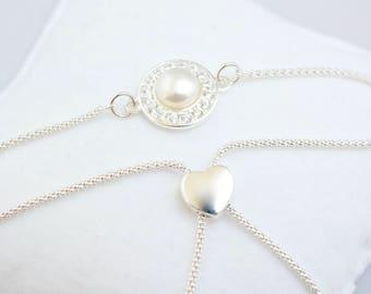 Elegant Pearl and Sterling Silver Bracelet