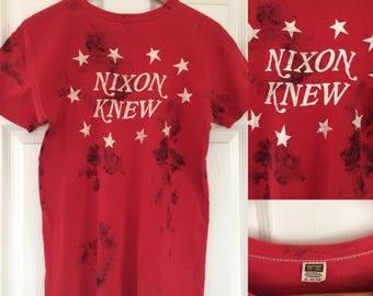 Rare 1970s Nixon Knew t-shirt - Watergate scandal!