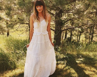 70's Prarie Boho Maxi; Women's Vintage Candy Jones Floral Hippie Maxi Dress Size Small-Deadstock Condition!