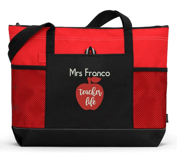 Teacher Life Personalized Tote Zippered Embroidered tote Bag With Mesh Pockets, Beach Bag