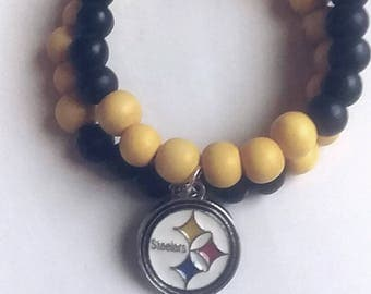 NFL Pittsburgh Steelers black and yellow beaded stretch bracelet Steelers NFL charm bracelet for men and women black and yellow wood beads