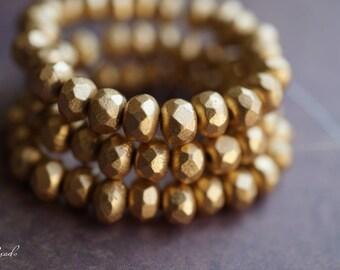 Matte Gold, Rondelle Beads, Czech Beads, Beads, N1780