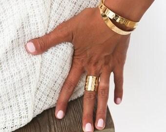 Gold Boho Ring, Personalized Band Ring, Gold Engraved Ring, Custom Name Ring, Inspirational Ring, Gold Personalized Ring, Gold Custom Ring