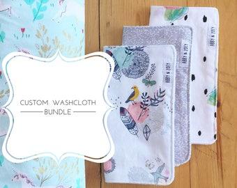 Custom Washcloth Bundle (4 washcloths) // wash cloths