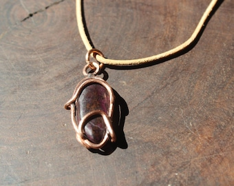 sugilite pendant on recycled copper - pendant necklace