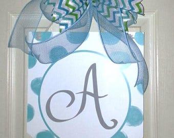 Monogram Letter A door hanger, Baby Boy Nursery door, Baby initial wreath, Baby Shower decor, Baby wreath, Blue door hanger