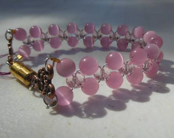 Pink cat's eye bracelet