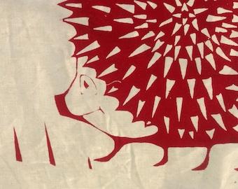 Hedgehog and hegrowe hand printed tea towel
