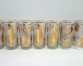 Libbey Golden Foliage Frosted Tumblers Mid Century Set Of Seven