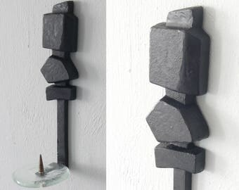 german BRUTALIST wall hanging 1950's CANDLE HOLDER - wrought Iron - Glass - solid Brass - Paul Evans - Marcello Fantoni - Quistgaard style