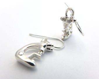 Microscope Earrings-Science Jewelry in silver, brass and bronze
