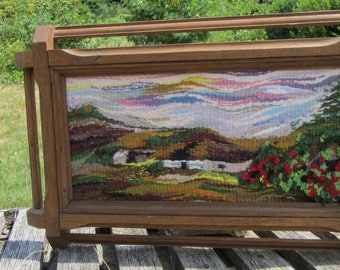Handmade Framed Scenery Wall Hanging Tapestry, Tapestry wall hanging, Art Handmade Scenery Tapestry, Art Deco Scenery Wall Hanging Fiber Art