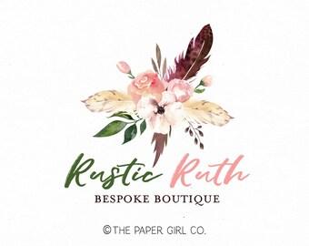 rose logo boho logo premade logo photography logo event planner logo wedding logo rustic logo boho chic logo peony logo feather logo design