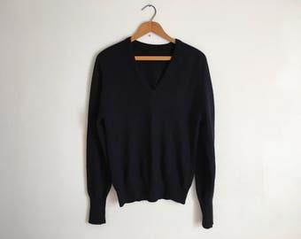 Vintage Black Pure Cashmere Sweater V-neck Cashmere Pullover Deep V Black Sweater Minimal Sweater