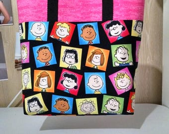 Girls Peanuts Gang Tote Bag Library Bag Preschool Bag Reusable Ladies Tote Charlie Brown