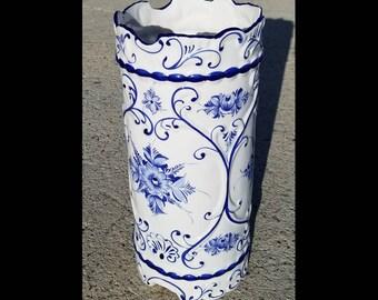 Vintage RCCL Hand Painted In Portugal Ceramic Umbrella Stand, Vase, Planter, Flower Pot, Rare Ceramic Umbrella Stand Delft Style Colors