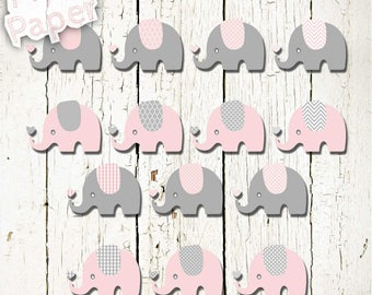"""Elephant Clip art: """"Baby Pink & Gray"""" zoo, jungle, safari, baby shower, baby. Transparent background"""