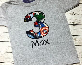 Marvel Super Hero Birthday Shirt / Super Hero Shirt / Birthday Shirt/ Super Hero / Avengers Birthday Shirt/ 1-9