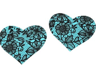 Teal Blue Lace Heart Nipple Pasties Cover  1 pair Nipple Covers  BOGO Free