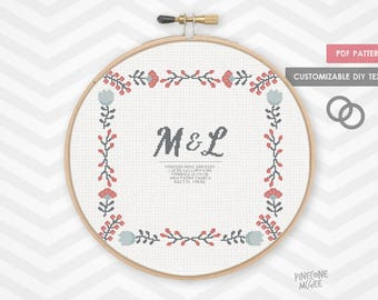 FOLK WEDDING ANNOUNCMENT counted cross stitch pattern, modern shower bride gift, diy bridal house warming, easy customize customise epattern