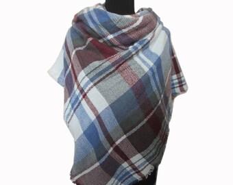 Blue Tartan Scarf, Checkered Shawl, Blue Blanket Scarf, Christmas Gifts for Mom, Plaid Scarf, Autumn Scarf, Wrap Shawl, Plaid Fall Scarf