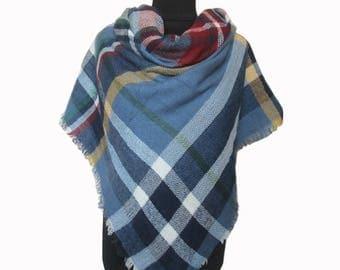 Blue Plaid Scarf, Tartan Scarf, Oversized Scarf, Checkered Shawl, Blue Blanket Scarf, Christmas Gifts for Mom, Wrap Shawl, Plaid Fall Scarf