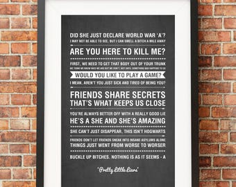 Pretty Little Liars Tv Quotes - HIGH QUALITY PRINT -  Choose Your Size - Wall Art - Poster Print - Modern Design