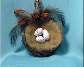 Decorative Brown Twig Bird Nest with Three Swallow Eggs - 3 inches