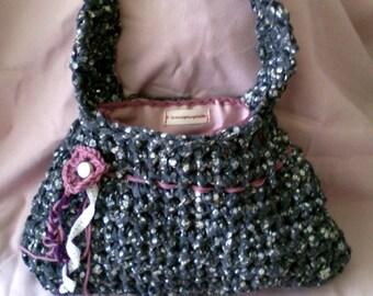 crochet floral printed fabric bag