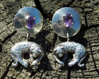 Carol Felley sterling silver cheetah leopard earrings with amethyst stones pierced vintage dangle wild animal earrings.