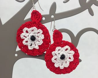 "crocheted ""flower"" earrings."