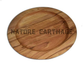 Round and flat plate 18 cm olive wood. Olive wood flat dish