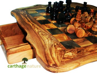 """Christmas gift, Birthday gift, mom dad present, OLIVE WOOD rustic CHESS set board 20 """" boyfriend girlfriend gifts, daddy gift, wife gift"""