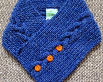 Blue Wool Neck-Wrap with Orange Buttons | Hand Knit Wool Neck Wrap | Aran Neck Wrap | Blue Wool Collar | Unique Irish Aran Gift | Irish