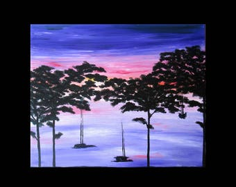 painting sunset over sailboats acrylic 61 x 50 cm