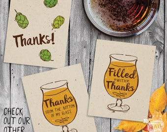 6pk Beer Thank You Card Set – Filled with Thanks, Thanks Hops, Thanks From the Bottom of My Glass, Beer Cards, Stationary