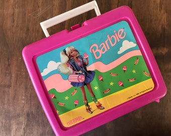 Pink Vintage Plastic Barbie lunchbox with thermos 1990